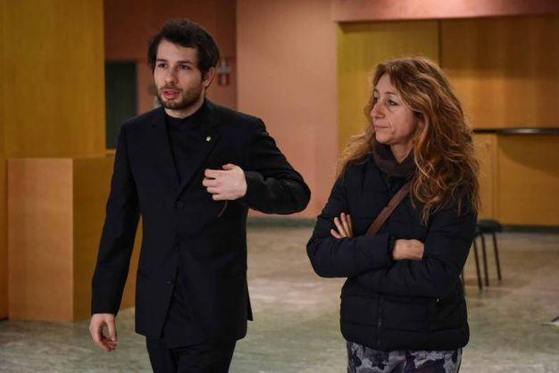 Camera ardente di Gualtiero  Marchesi al Teatro Dal Verme: la figlia Paola e il nipote Guglielmo (foto Lapresse)