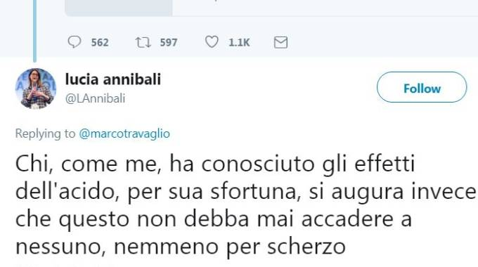 Il tweet di Lucia Annibali