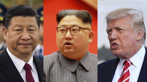 Da sinistra: Xi Jinping, Kim Jong-Un, Donald Trump (AFP, Ansa)
