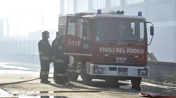 I vigili del fuoco durante la bonifica a Porcari (Foto Alcide)
