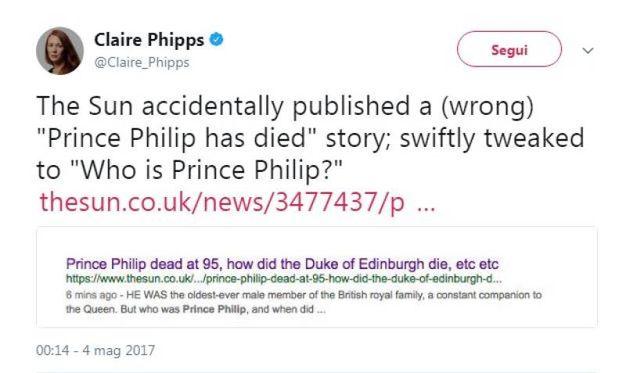 Il principe Filippo e lo scivolone del Sun