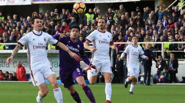 Fiorentina-Milan, un'azione del match al Franchi (Fotocronache Germogli)