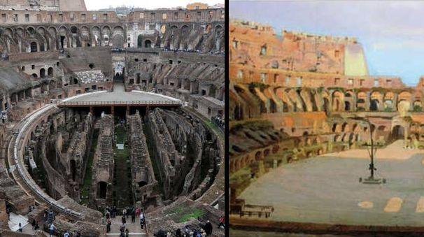 Il Colosseo com'è e come potrebbe essere (Ansa)