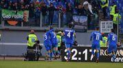 La goia di Missiroli e compagni per il gol del pareggio in casa della Roma (foto LaPresse)