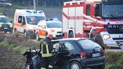L'incidente stradale sulla via San Lorenzo in Correggiano a Gaiofana di Rimini (foto Migliorini)