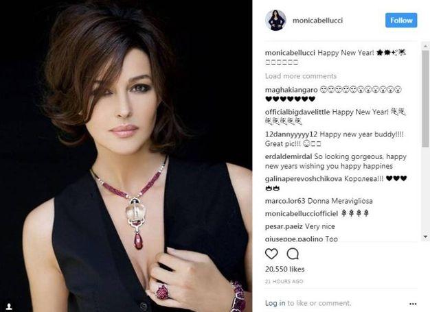 Monica Bellucci, bella e ingioiellata (Instagram)
