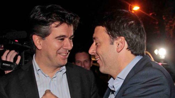 Il sindaco Daniele Manca con il segretario del Pd ed ex premier Matteo Renzi