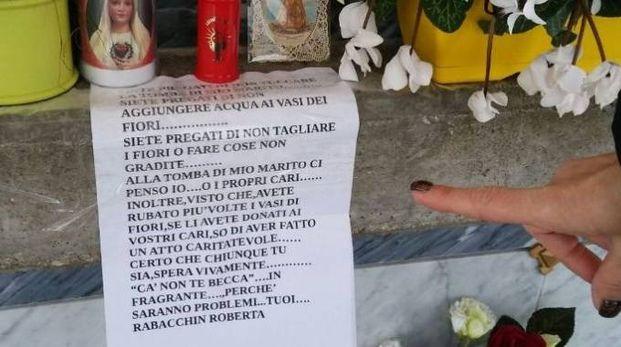 Cartello al cimitero di Badia