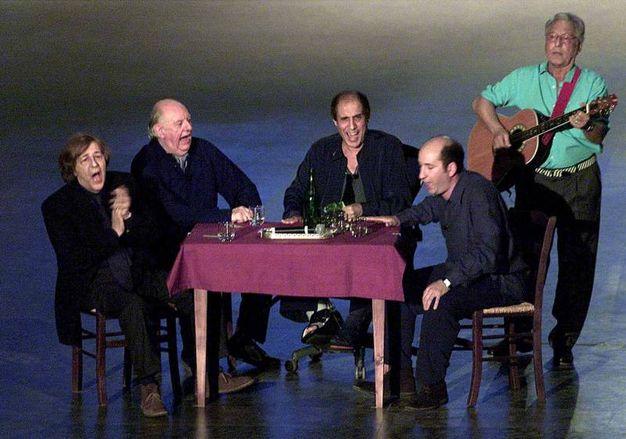 Giorgio Gaber, Dario Fo, Adriano Celentano, e Antonio Albanese (Ansa)