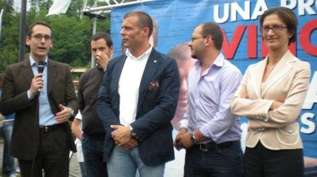 Mauro Piazza e Daniele Nava con l'ex ministro Mariastella Gelmini