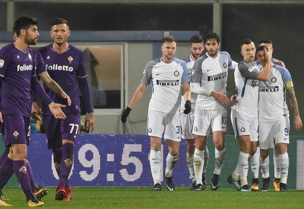 L'esultanza dell'Inter (Ansa)