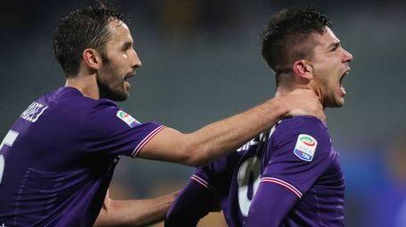 L'urlo di Simeone al gol del pareggio della Fiorentina con l'Inter (Fotocronache Germogli)