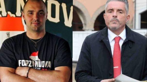 A sinistra il responsabile regionale di Forza Nuova Mirco Ottaviani, a destra il sindaco Paolo Lucchi