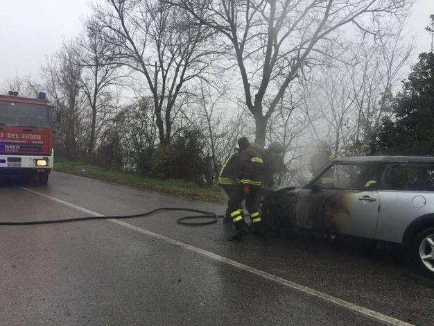 La parte frontale dell'auto è andata quasi completamente distrutta (foto Zeppilli)