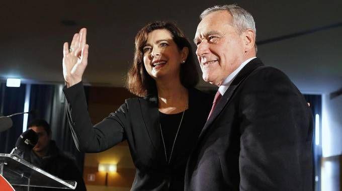 Laura Boldrini e Pietro Grasso all'assemblea di Liberi e Uguali (Ansa)