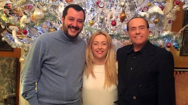 Matteo Salvini, Giorgia Meloni e Silvio Berlusconi ad Arcore (Ansa)