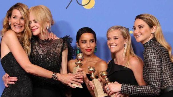 Da sx Laura Dern, Nicole Kidman, Zoe Kravitz, Reese Witherspoon e Shailene Woodley (Ansa)