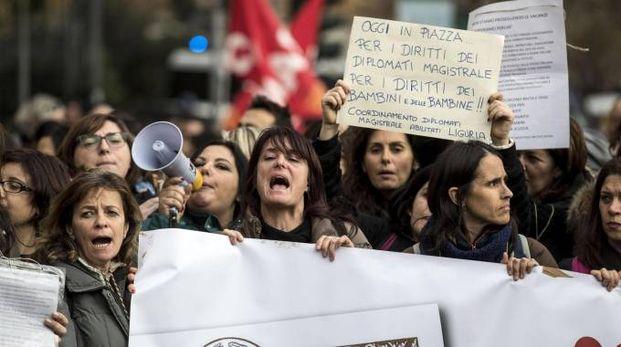 Roma, sciopero dei maestri (Ansa)