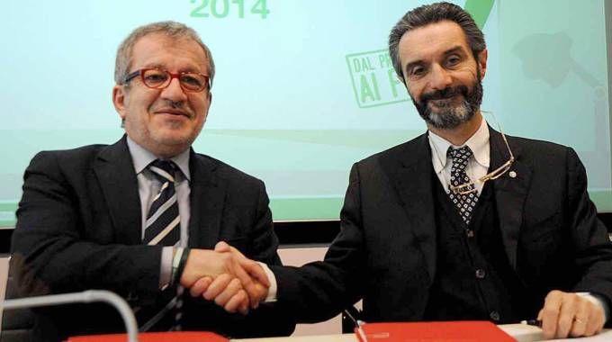 Roberto Maroni e Attilio Fontana (Ansa)