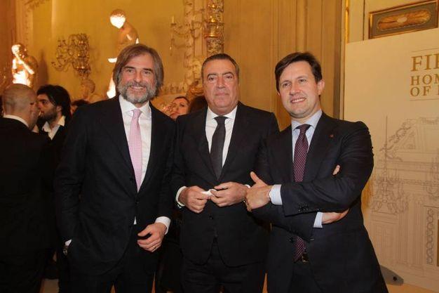 Pitti, cena nella Sala Bianca e mostra Capucci.  Andrea Cavicchi,  Francesco Carrassi  e Dario Nardella (Umberto Visintini / New Press Photo)