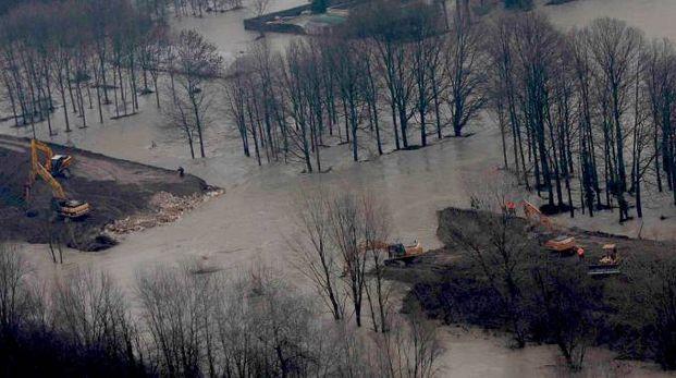 La falla del 19 gennaio 2014  sull'argine del fiume Secchia in località San Matteo