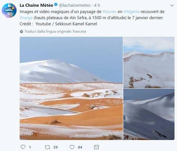 Le spettacolari immagini della neve nel deserto del Sahara (Dire)