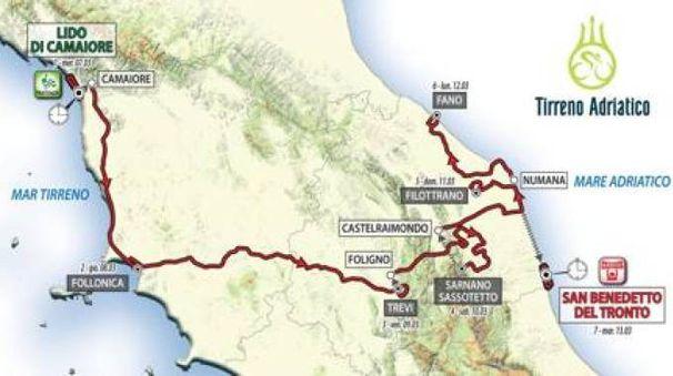 La mappa della Tirreno-Adriatico 2018