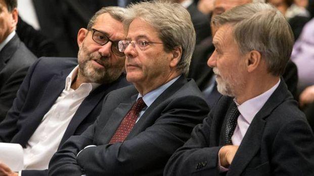 Roberto Giachetti, Paolo Gentiloni e Graziano Delrio (ImagoE)