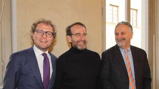 Il ministro Luca Lotti, il viceministro Nencini e l'assessore regionale Ceccarelli