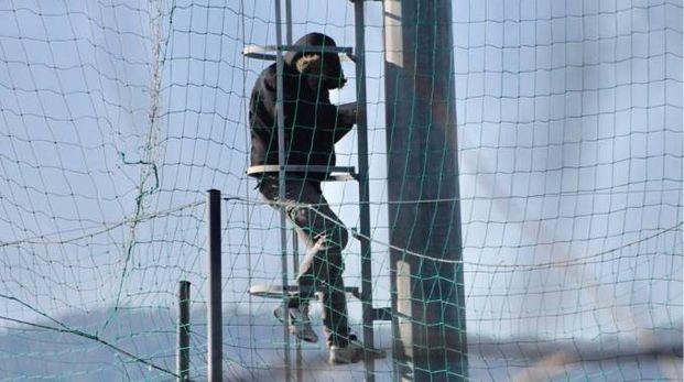 L'uomo sul traliccio (Foto Pasquali)