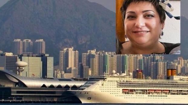 Una nave da crociera e nel riquadro Giovanna Beleffi, morta a 42 anni