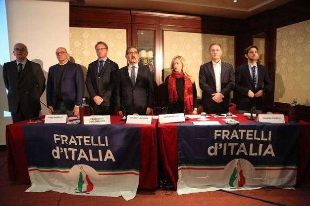 Lo stato maggiore di Fratelli d'Italia al Carlton di Bologna (foto Schicchi)