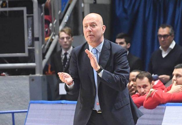 L'allenatore della Grissin Bon,  Menetti (Foto Schicchi)