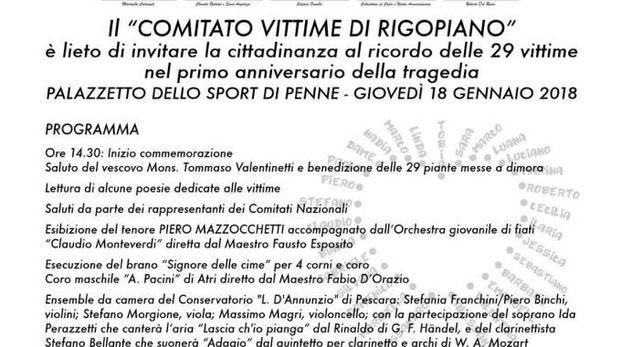 Rigopiano, il programma del primo anniversario