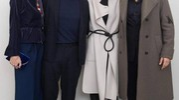Roberta Armani, Filippa Lagerback, Daniele Bossari e Francesco Scianna dopo la sfilata (Ansa)