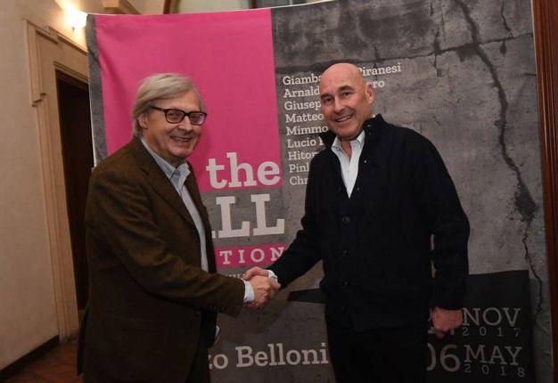 Il critico d'arte è stato accolto dall'editore di Qn-il Resto del Carlino, Andrea Riffeser Monti (Foto Schicchi)