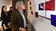 Vittorio Sgarbi alla mostra 'The Wall' a palazzo Belloni (Foto Schicchi)