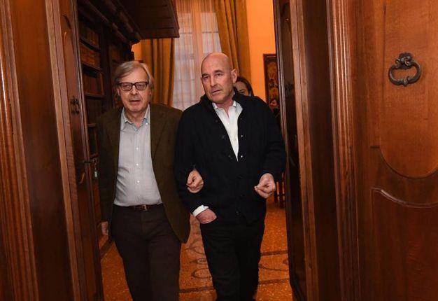 Sgarbi visita Palazzo Belloni con Andrea Riffeser Monti (Foto Schicchi)