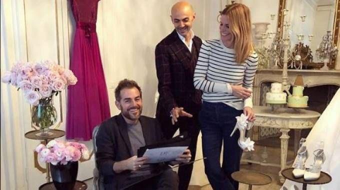 Daniele Bossari, Filippa Lagerback e il wedding planner Enzo Miccio (Instagram)