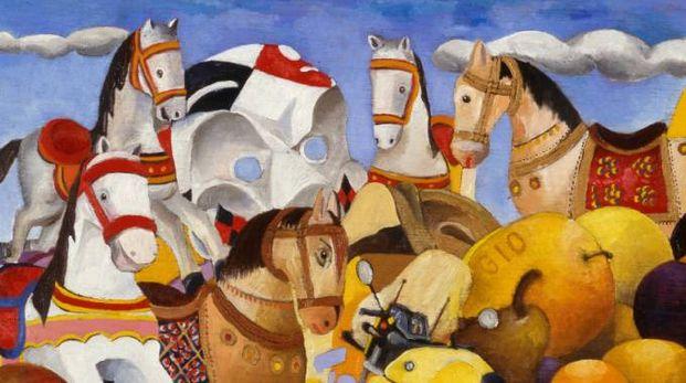 Un'opera di Marco Civai, che richiama il mondo dei giocattoli