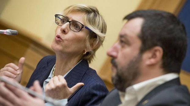 Giulia Bongiorno in corsa per la Lega: l'annuncio con Salvini (Ansa)