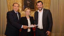 Berlusconi, Meloni e Salvini firmano il programma del centrodestra (Ansa)