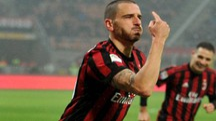 L'esultanza di Leonardo Bonucci dopo il primo gol  in maglia rossonera