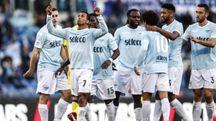 Nani festeggia il quinto gol della Lazio (Ansa)