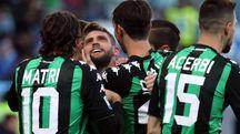 L'esultanza per il gol di Berardi (Foto Ansa)
