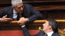 Pier Ferdinando Casini e Matteo Renzi in Parlamento