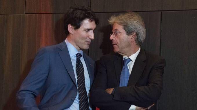 Paolo Gentiloni con il premier canadese Justin Trudeau (ImagoE)