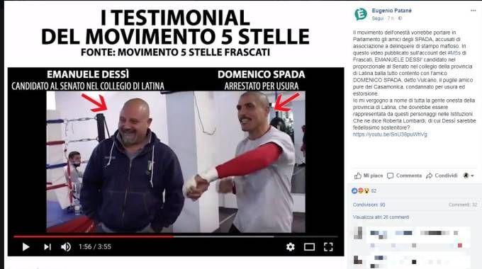 Il post con il frame del video in cui compaiono Dessì e Domenico Spada