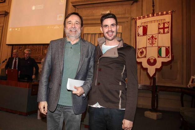 Lorenzo Baglioni all'Università con il rettore Luigi Dei (foto Giuseppe Cabras/New Pressphoto)