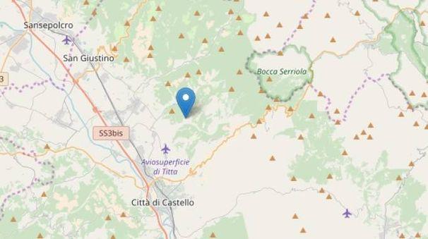 L'epicentro del terremoto di Città di Castello del 2 febbraio